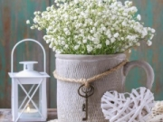 Baby's breath (gypsophilia paniculata) in grey ceramic vase